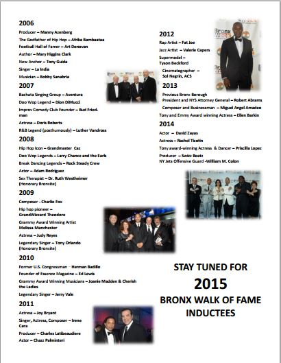 The Bronx Walk of Fame Inductees - 2006-2014